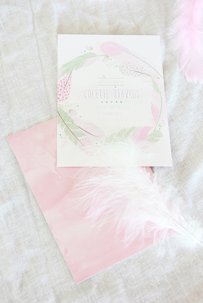 Pink Feather Invitations