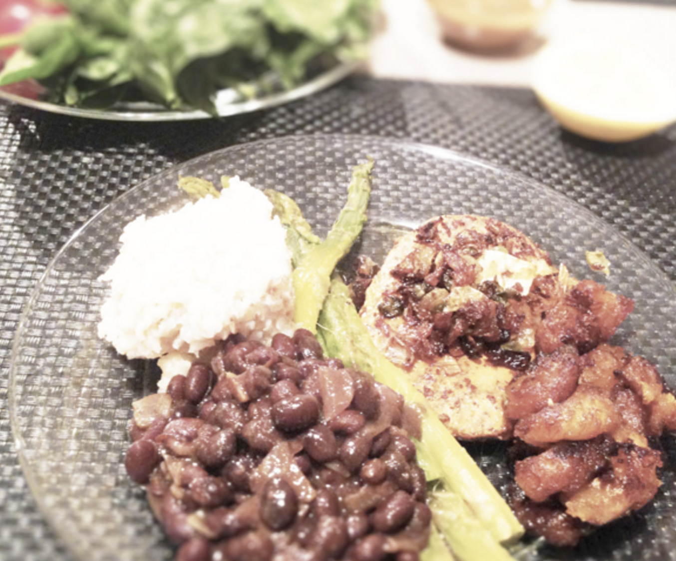 Cuban Vegan Asparagus Chicken with Black Beans & Rice