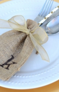 Burlap Sack Place Cards and Silverware Holders