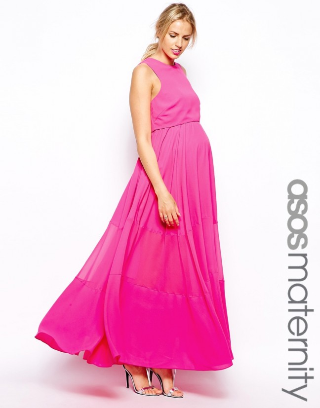 d4c2911f330 ASOS Maternity Double Layer Maxi Dress with Sheer Inserts