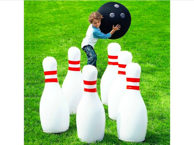 Set up an inflatable bowling set