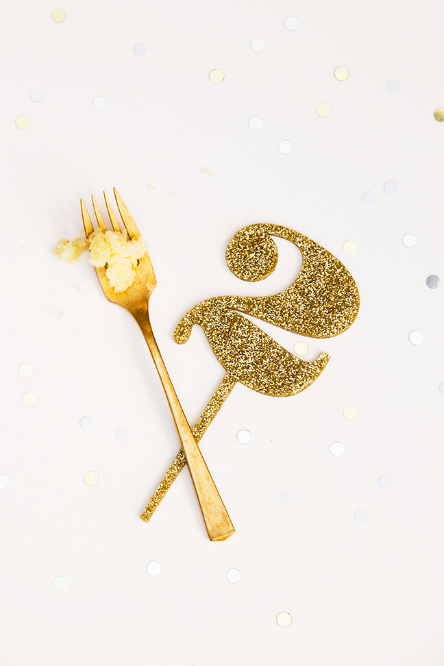 Gold Glitter Number Cake Topper