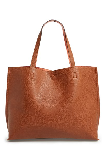 Reversible Faux Leather Tote